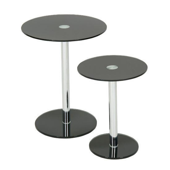 Marble Coffee Table Tesco: Roma Set Of 2 Black Glass Round Tables