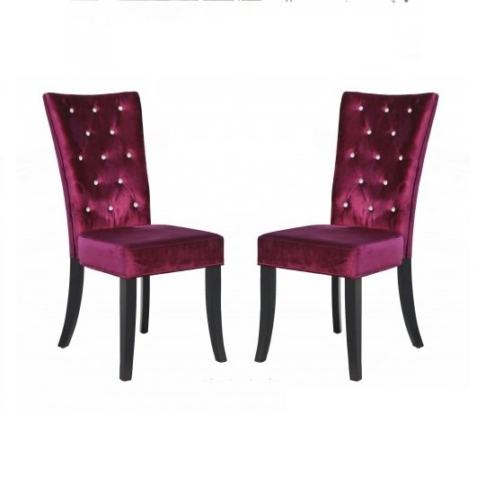 Belfast Dining Chair In Crushed Purple Velvet in A Pair