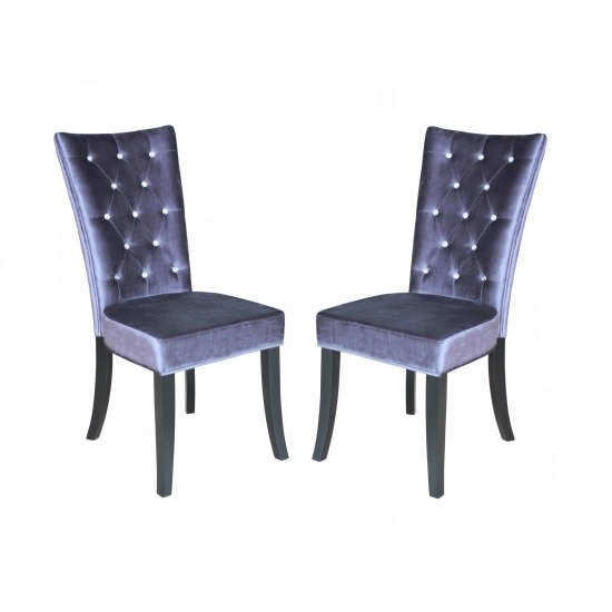 Belfast dining chair in crushed silver velvet a pair