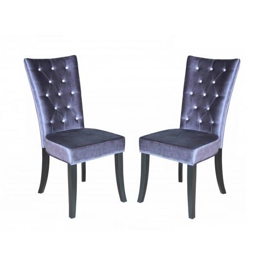 Velvet dining chairs radience pair of purple velvet diamante dining