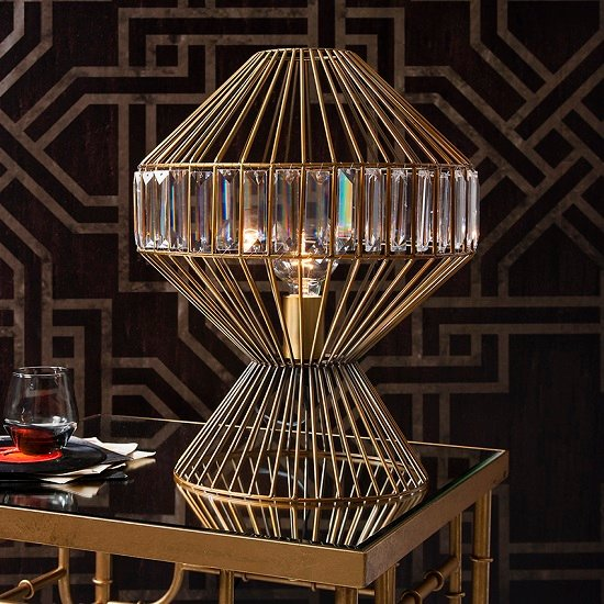 Celtic Table Lamp In Gold Wire Work With Glass