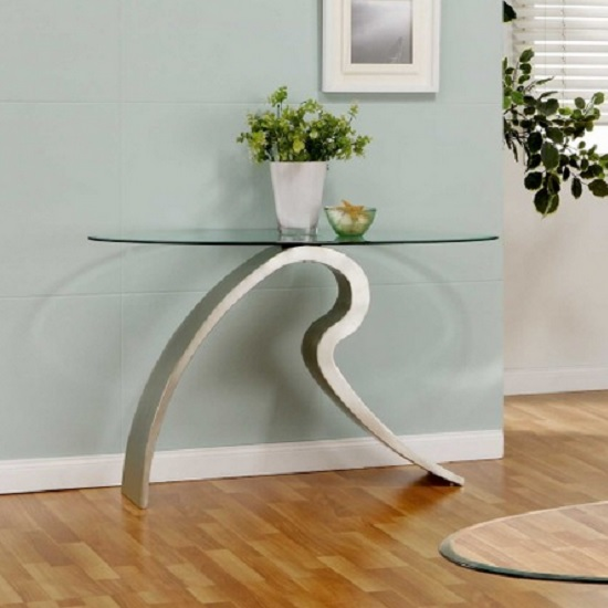 Charmant Signature Glass Console Table In Clear With Satin Plated Base
