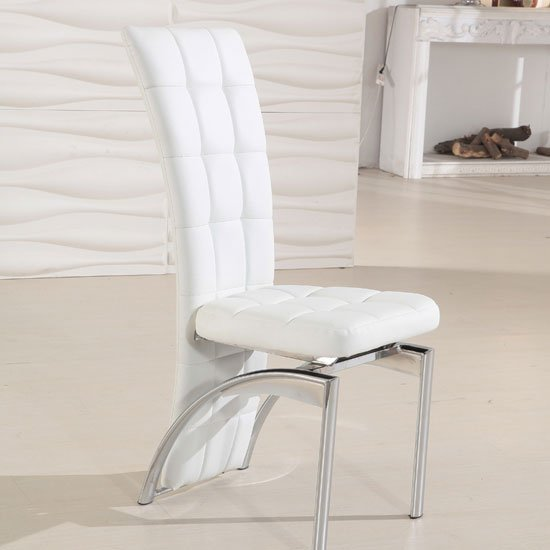 Ravenna white faux leather dining room chair 19495 for White leather dining chairs