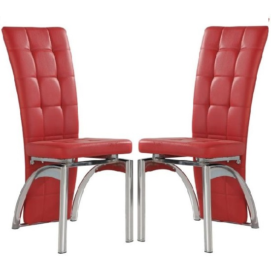 Ravenna Dining Chair In Red Faux Leather in A Pair_1