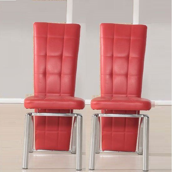 Ravenna Dining Chair In Red Faux Leather in A Pair