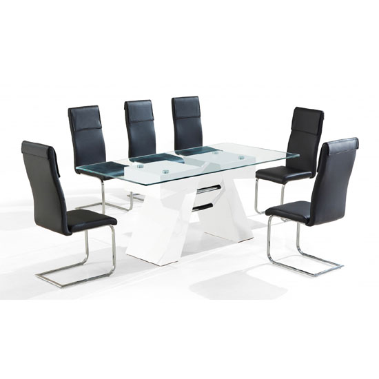 Reno High Gloss White Clear Glass Top Dining Table And 6 Chairs