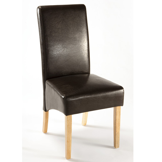 Reno Dark Brown Faux Leather Dining Chair With Oak Legs