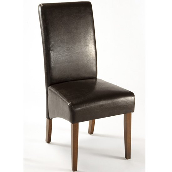 Reno dark brown faux leather dining chair ren03 15400 for Brown leather dining room chairs