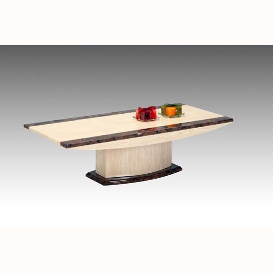 Retro Marble Coffee Table With Wooden Base