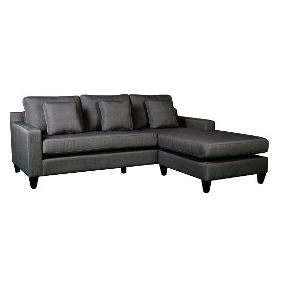 Angelic Reversible Corner Sofa In Grey Fabric With Black Feet