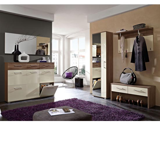 Read more about Revue dark oak and gloss cream hallway furniture