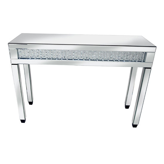 Rosalie Mirror Console Table In Silver With Glass and Crystals