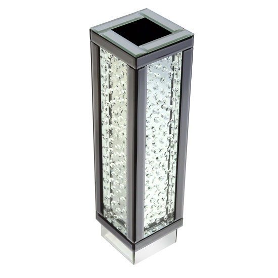 Rosalie Vase In Silver With Mirrored Glass and Crystals