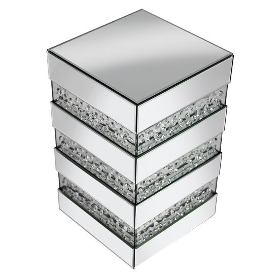 Rosalie Side Table In Silver With Mirrored Glass and Crystals