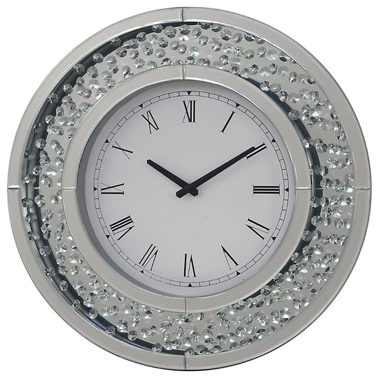 Rosalie Wall Clock Round In Mirrored Glass With Crystals