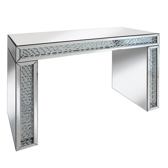 Rosalie Console Table In Silver With Mirrored Glass and Crystals