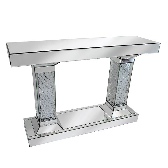 Rosalie Pedestals Console Table In Mirrored Silver With