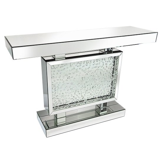 Rosalie Mirrored Console Table In Silver And Glass With Crystals