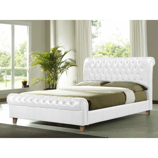 Richmond White Faux Leather Double Bed
