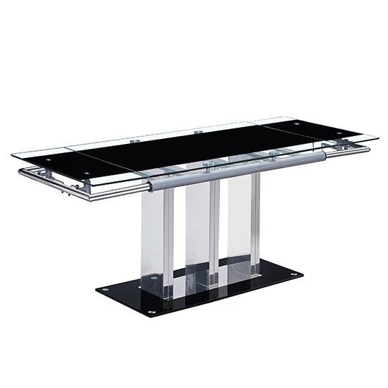 Rihanna Extending Dining Table In Black Glass_2