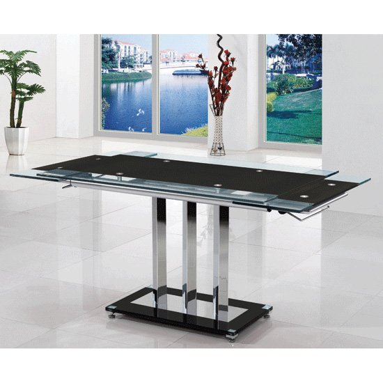Rihanna Extending Dining Table In Black Glass_1