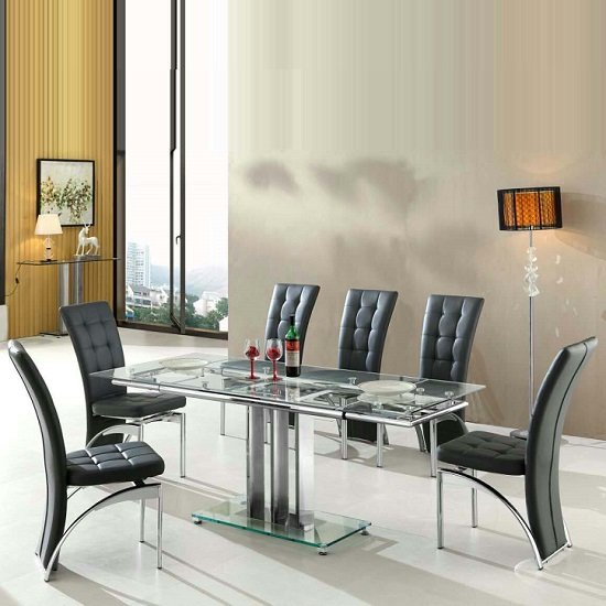 Rihanna Extending Glass Dining Table With 6 Ravenna Black Chairs