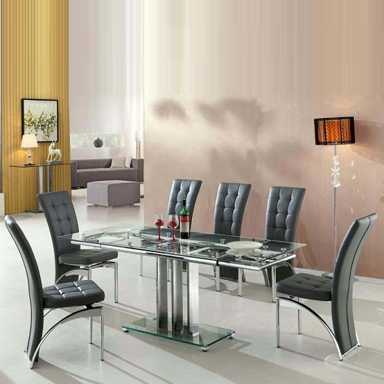 Rihanna Extending Glass Dining Table With 6 Ravenna Grey Chairs