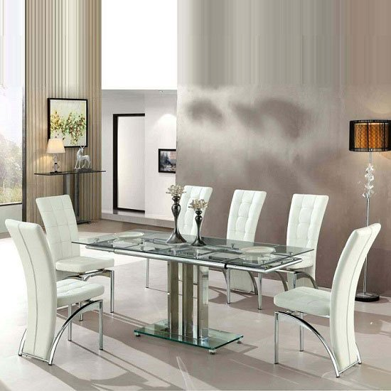 View Rihanna extending glass dining table with 6 ravenna white chairs