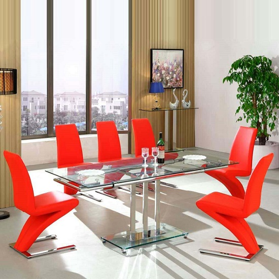 Rihanna Extending Glass Dining Table With 6 Demi Red Chairs Furniture In Fashion