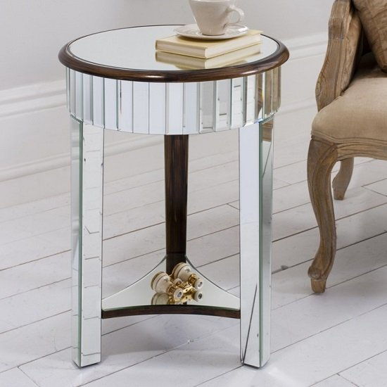 Harvard Mirrored Side Table Round With Bronze Base And Shelf