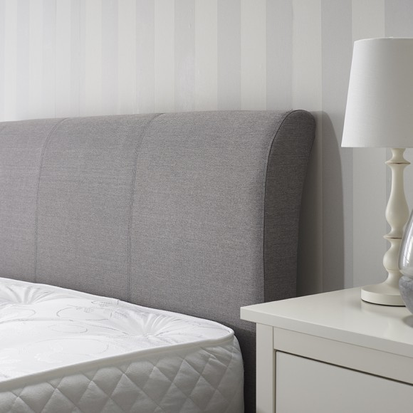 Newton Storage Double Bed In Grey Linen Fabric 4