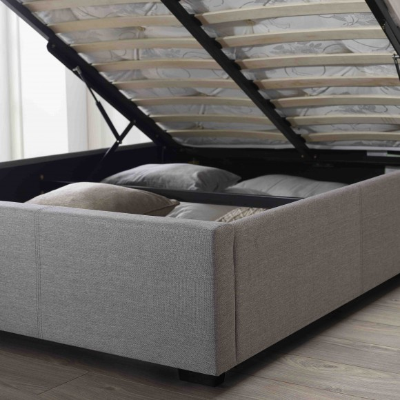 Newton Storage Single Bed In Grey Linen Fabric_5