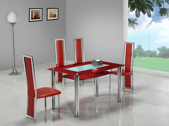 Rimini Large Red Glass Dining Table with 4 G601 Chair