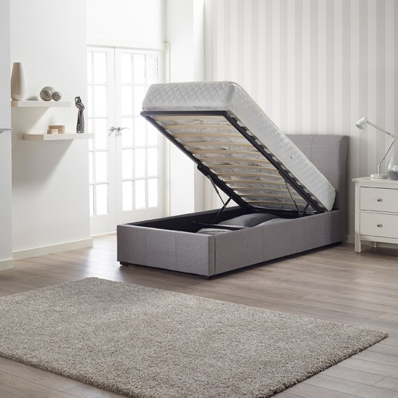Newton Storage Single Bed In Grey Linen Fabric_2