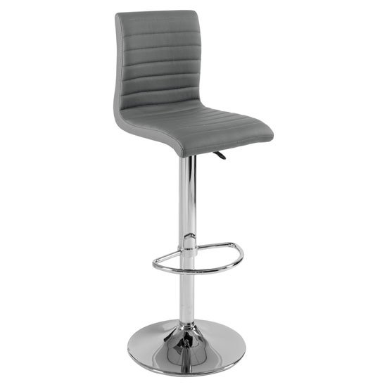 Ripple Bar Stool In Charcoal Grey Faux Leather With Chrome Base