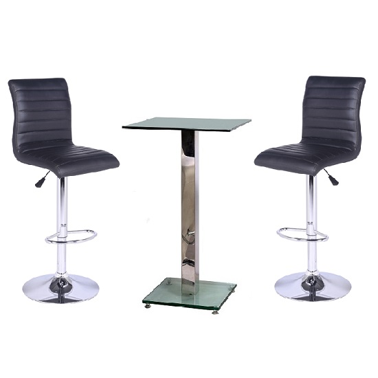 Spice Bar Table In Clear Glass With 2 Black Ripple Bar Stools