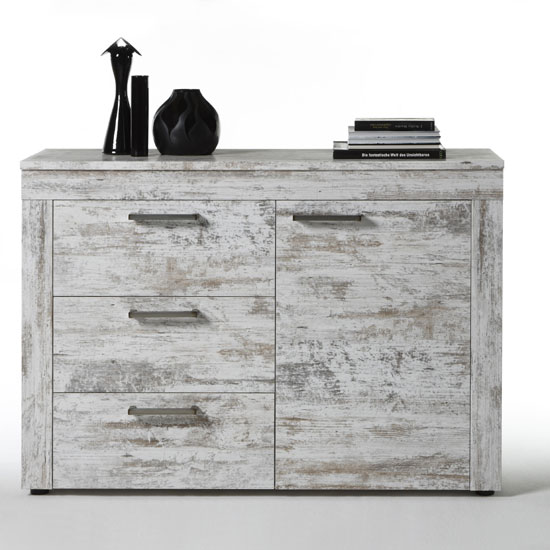 River Sideboard In Canyon White Pine With 1 Door And 3 Drawers