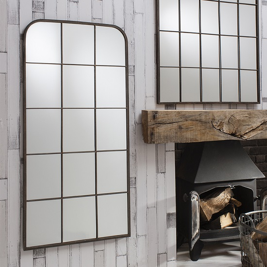 rickard wall mirror in rustic metal with window pane design. Black Bedroom Furniture Sets. Home Design Ideas