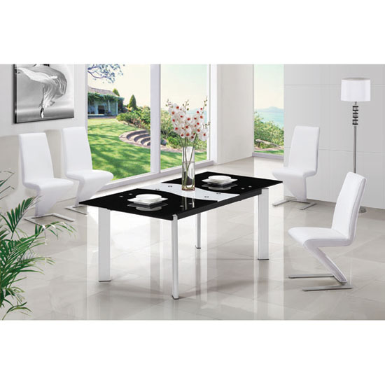 Roma Black Milky Glass Extending Dining Table And 6 G632 Chairs