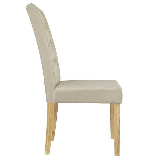 Heskin Dining Chair In Beige Linen Style Fabric in A Pair_2
