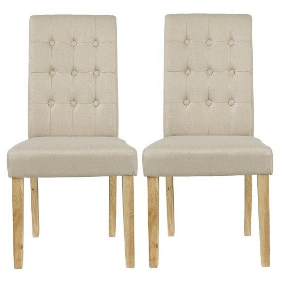 Heskin Dining Chair In Beige Linen Style Fabric in A Pair