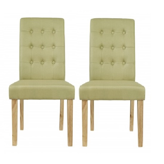 Heskin Dining Chair In Green Linen Style Fabric in A Pair