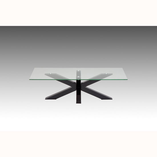 Tim Clear Glass Coffee Table With High Gloss White Base: Glass Coffee Tables, Wood, Chrome, Black