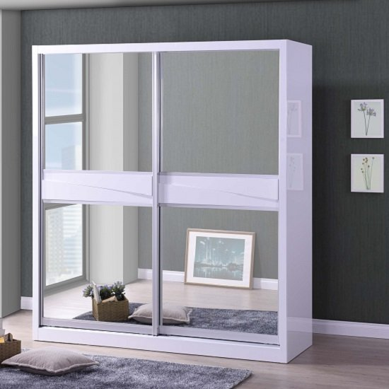 Mirrored sliding doors shop for cheap beds and save online for Cheap white mirror