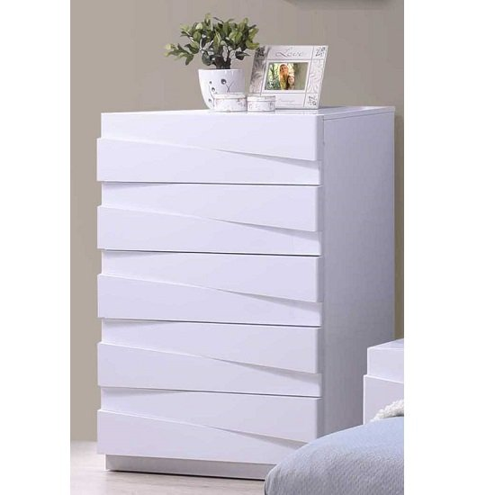 Stirling Chest of Drawers In White High Gloss With 5 Drawers