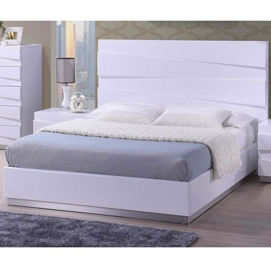 Stirling King Size Bed In White High Gloss Furniture In