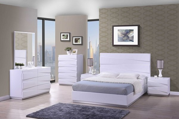 Stirling Double Bed In White High Gloss 26313 Furniture In