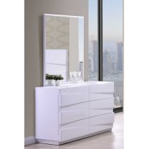 Stirling Dressing Table With Mirror In White High Gloss