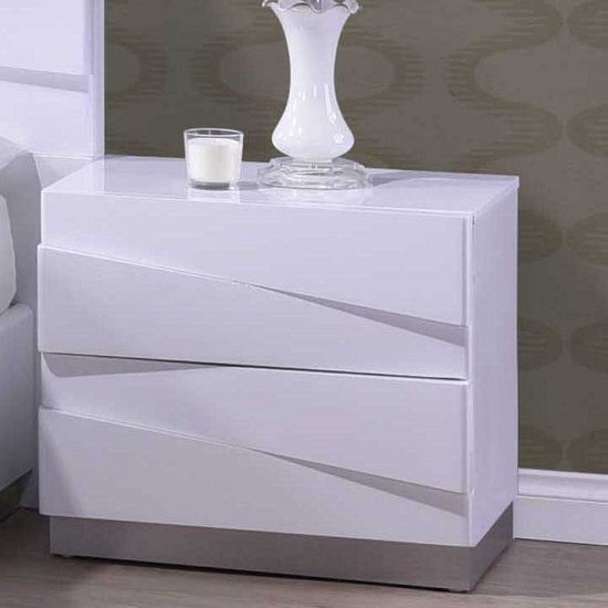 Stirling Bedside Cabinet In White High Gloss With 2 Drawers_1