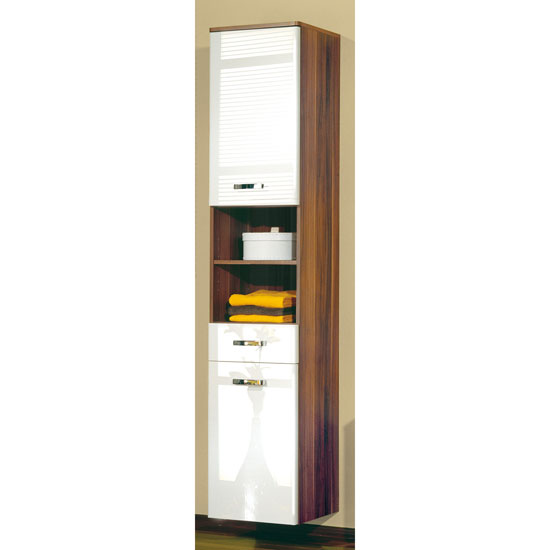bathroom cabinets rondo tall bathroom cabinet in walnut and white